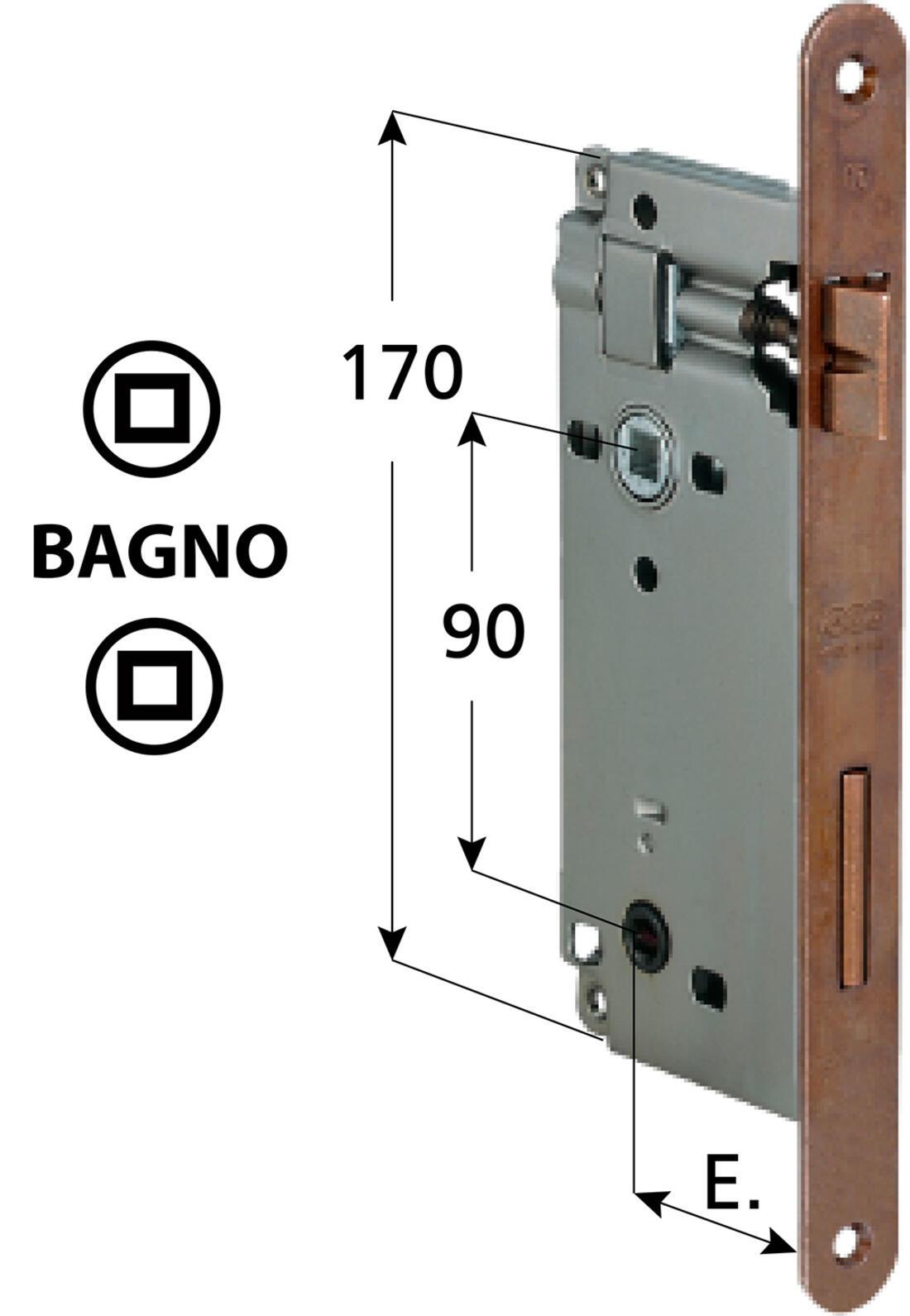 SERRATURA PATENT BAGNO GRANDE BRONZATA AGB - Serrature